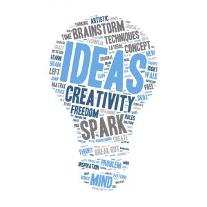 Word Cloud - Creativity, Inspiration and Ideas. wordclouds about the creative process, grey, blue, white. Isolated Light Bulb Shape